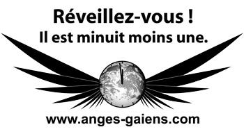 Réveil des Anges Gaïens autocollants noir et blanc